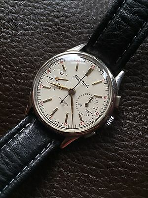 Vintage Swiss Silvana Chronograph Mens Watch In Box