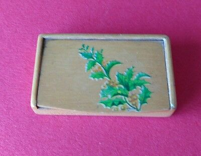 Mauchline Ware Double Stamp Box with Spray of Holly.