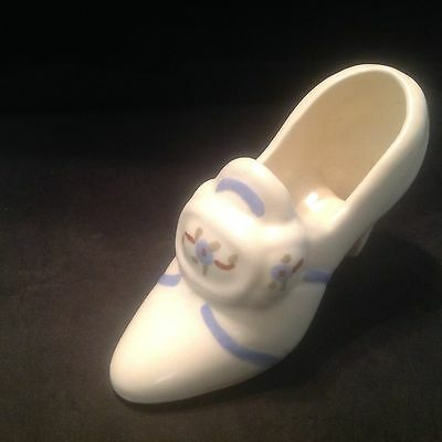 Vintage White Ceramic Shoe with Blue Accents