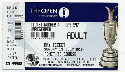 2014-143rd OPEN CHAMPIONSHIP-RORY McILROY-@ROYAL LIVERPOOL-OFFICIAL GOLF TICKET