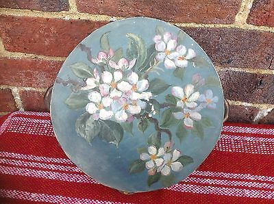 Rare  Hand Painted Antique  Tambourine Floral