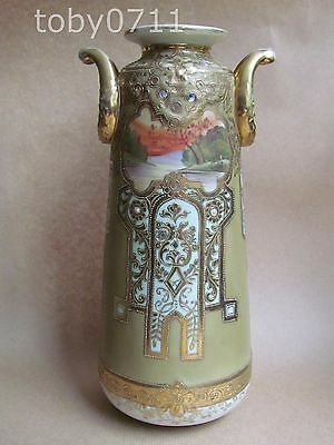 NORITAKE TALL ART NOUVEAU VASE WATER SCENES JEWELLING OVERLAID GILT  (Ref2012)