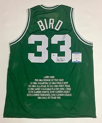 LARRY BIRD AUTOGRAPHED CELTICS STAT JERSEY with BECKETT COA #I30458