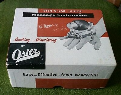 1957 Vtg Oster Stim-U-Lax stimulax Junior Model M-4 electric massager vibrator