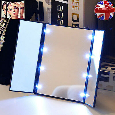 Foldable Tri-sided Lighted Beauty Vanity LED Light Makeup Cosmetic Stand Mirror