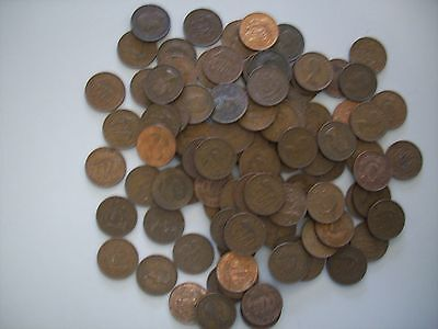 100 Mixed Date British Half Pennies