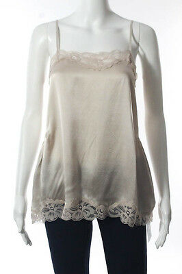 Gold Hawk Beige Silk Taupe Lace Camisole Top Size Small New $55