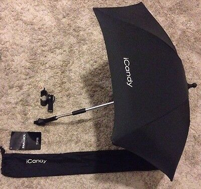 BNWT iCandy Sun Parasol New Shape Black Sunshade With Clip And Cover