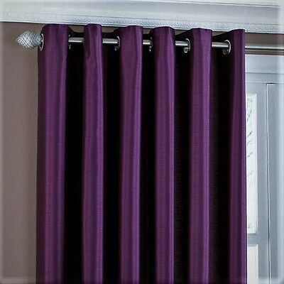 "SALE! Faux Silk Fully Lined EYELET Curtains 229x229cm, 90x90"" Blackcurrant"