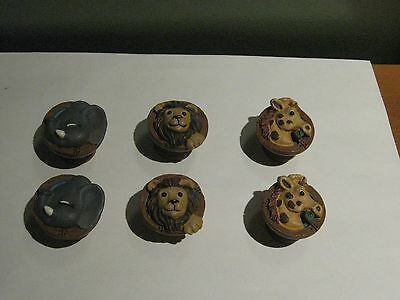 6- Jungle Safari Zoo Animal Head - Drawer Pulls/knobs