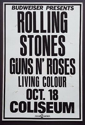 ROLLING STONES / GUNS N ROSES / LIVING COLOUR Original Concert Promo Poster 1989