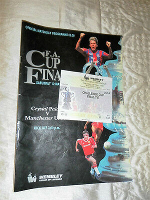 1990 Fa Cup Final Manchester United V Crystal Palace + Match Ticket
