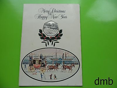 1980: IOM: Isle of Man 'Stagecoach & Horses' BUNC Christmas 50p: 50 Pence Coin.