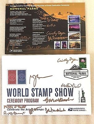 2016 National Parks Stamp First Day Issue Ceremony Signed Both Cover & Program