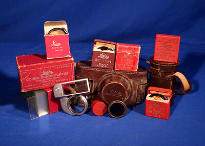 LOT of Vintage Leica Filters, Leather Cases, Etc . #L135EW