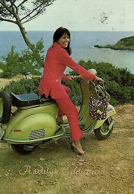 Scooter Vespa girl photo postcard 5.8 X 4 inches