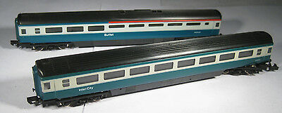 2x Graham Farish N Gauge BR Mk3 coaches Blue/Grey, excellent condition, boxed