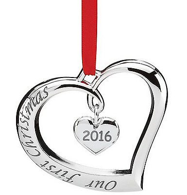 Lenox 2016 Our First Christmas Heart Forevermore Ornament