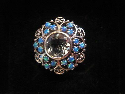 925 Sterling Silver Ring Size O Blue Topaz Opal Stones Filigree Ornate Stunning