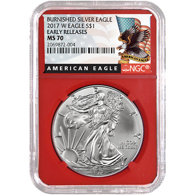 2017-W Burnished $1 American Silver Eagle NGC MS70 Black ER Label Red Core