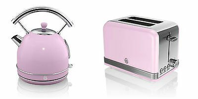 NEW Swan Kitchen Appliance Retro 1.7L PINK Dome Kettle & 2 Slice Toaster Set