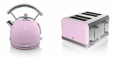 NEW Swan Kitchen Appliance Retro 1.7L PINK Dome Kettle & 4 Slice Toaster Set