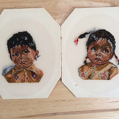 Vintage Petit Point of Native American Children Indian Children Needlepoint (2)