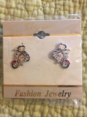 Betty Boop Pierced Earrings! New! Biker Betty! Cute And Sassy! Great Price!