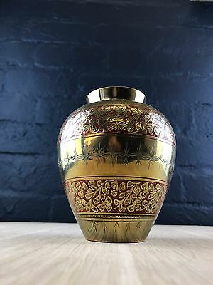 Vintage Antique Hand Engraved Red Enamel Indian Solid Brass Vase