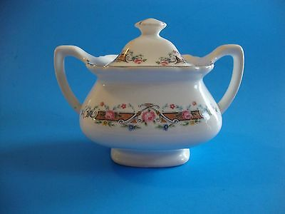 Vintage Lido W.S. George Sugar Bowl & Lid White with Floral Rose Decorations