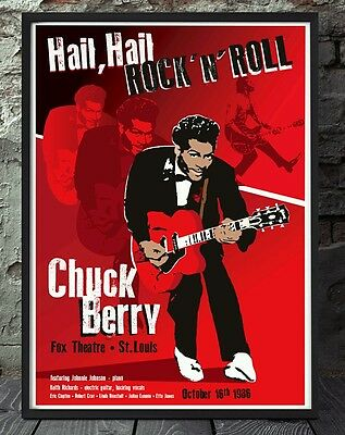 Chuck berry poster. Celebrating famous venues and gigs. Specially created.