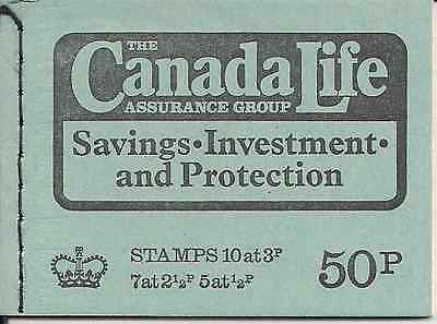 1973 Gb Qeii 50P Stitched Stamp Booklet Sg Dt 9 Canada Life Assurance February
