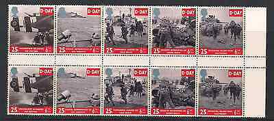 1994 Qeii D Day Commemorative Stamp Gutter Pairs In Block Sg 1824 1828 Nmnh