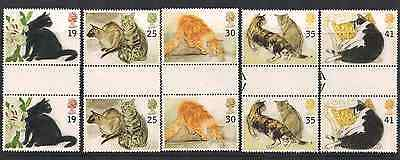 1995 Qeii Cats Commemorative Stamp Gutter Pairs Sg 1848 1852 Nmnh