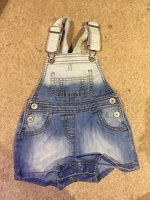 Baby Girls Next Denim Faded Dungarees 12-18 Months
