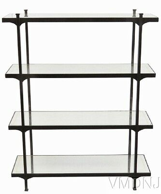 VMD1046 Modern Design Iron Etagere with Mirrored Shelves