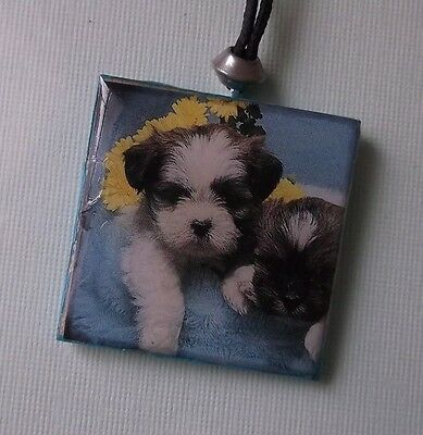 Shih Tzu Puppy Dog Necklace - Resin and Wood - Handmade - USA Seller