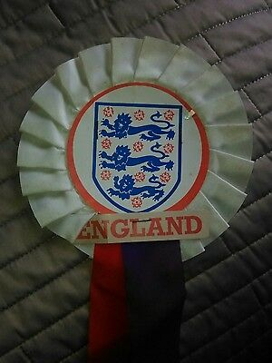 England FOOTBALL ROSETTE LATE 60's EARLY 70.s NR MINT CONDITION