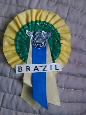BRAZIL FOOTBALL TEAM ROSETTE LATE 60's EARLY 70's MINT CONDITION.