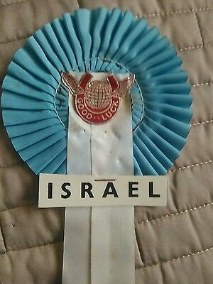 ISRAEL FOOTBALL TEAM ROSETTE LATE 60's EARLY 70's MINT CONDITION