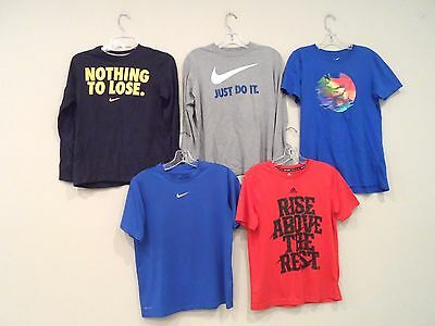 Lot of 5 Nike & Adidas Boy's Shirts Size Large T-Shirt Athletic Red Dri-Fit Blue