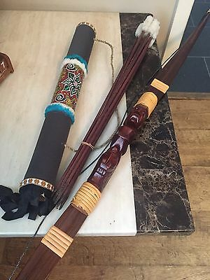 Hand Carved Bow and Arrow Archery Set + 10 Arrows + Wooden Carry Case
