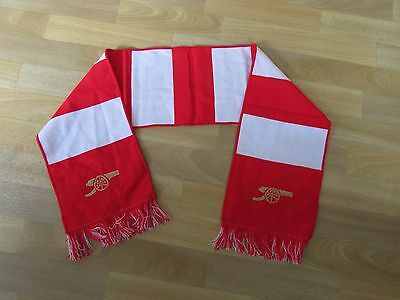 ARSENAL Red & White FOOTBALL Scarf with Cannon Gun Logo