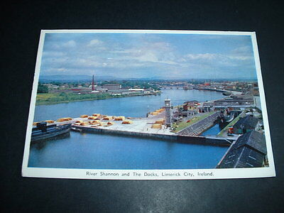 Irish. Postcard River Shannon And The Dock,s  Limerick  City
