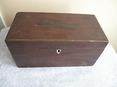ANTIQUE VICTORIAN 19th MAHOGANY TEA CADDY BOX WITH INLAYS