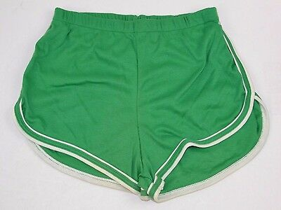 "Vtg 1970's LE RICHE Green GYM SHORTS Short Shorts Medium SOFT 1.5"" Inseam! NOS"