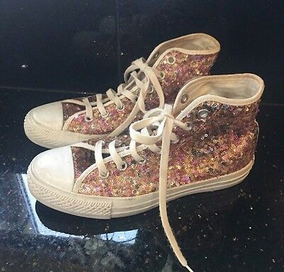 Women's Sequin All Star Converse Trainers Size Uk 5 Vgc
