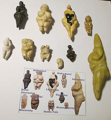 Dawn of art - set of 10 most famous paleolithic venuses , cast replicas