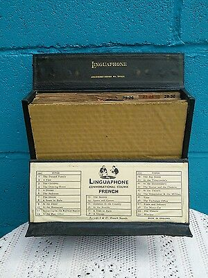 Vintage 1950s Linguaphone French Language Course 15 x 78rpm Bakelite Records
