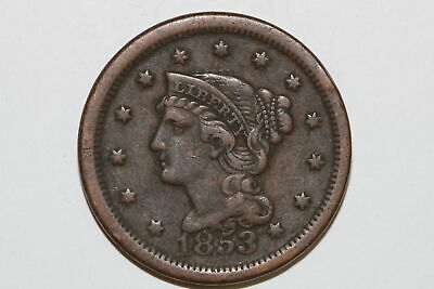 Grades Very Fine 1853 Liberty Braided Hair Head Large Cent Coin (KEV26)